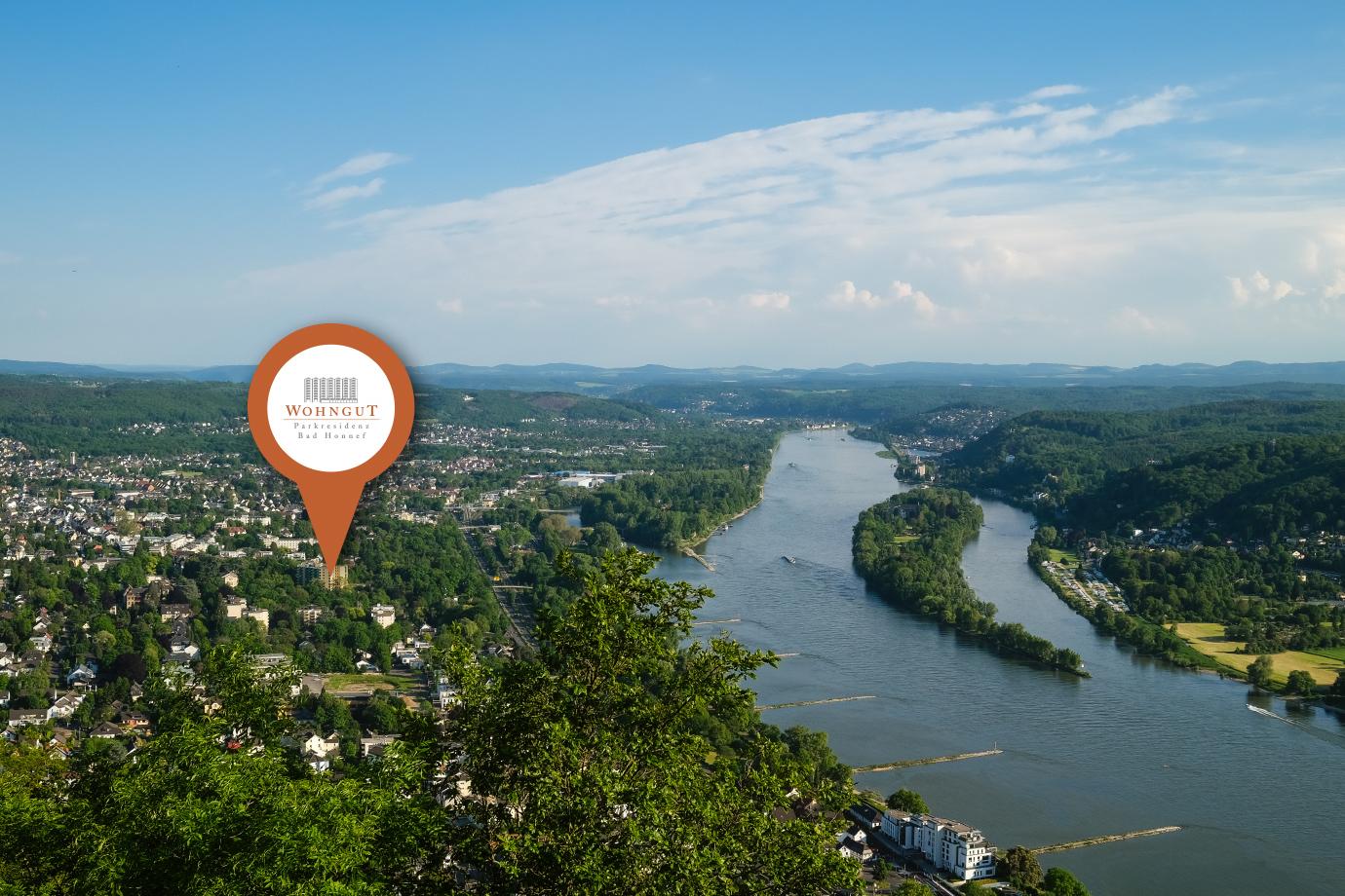 Rheinblick mit Standort-Icon